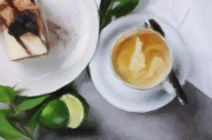 coffee creamer and cake