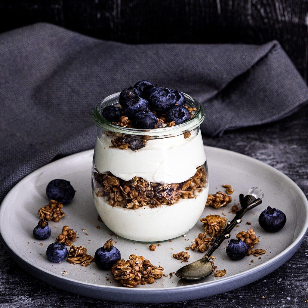 vegan greek yogurt and blueberries with granola