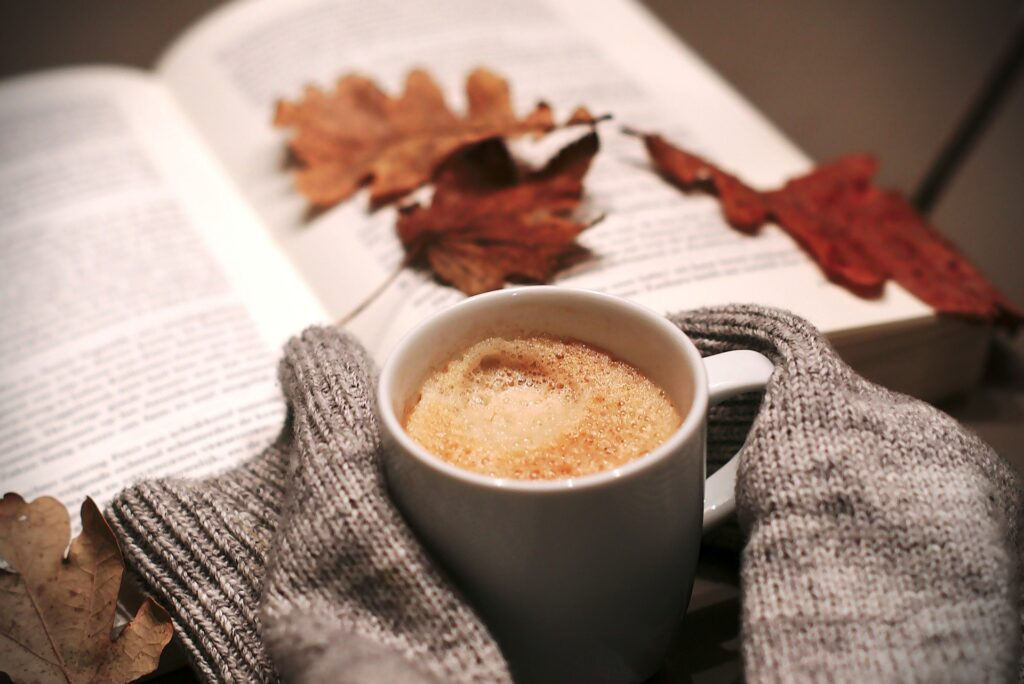coffee and books in autumn