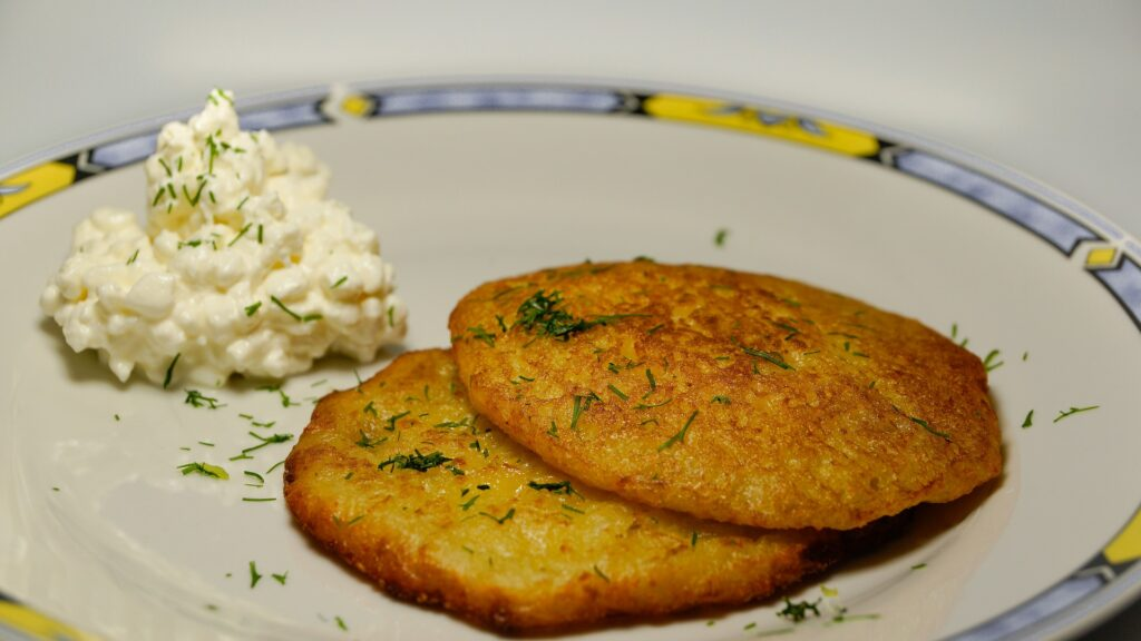 vegan cottage cheese with potato pancakes